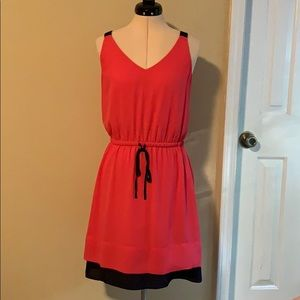 Loft pink and navy dress